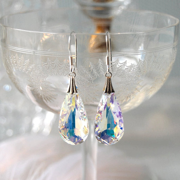 Statement Swarovski Crystal Teardrop Wedding Earrings