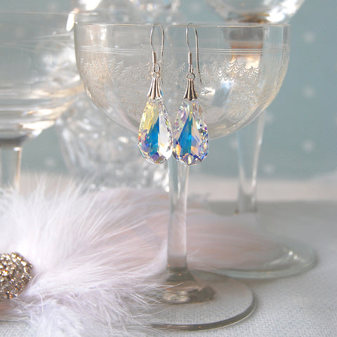 Statement Swarovski AB Crystal Teardrop Wedding Earrings by Susie Warner