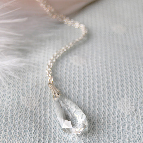 Statement Swarovski Clear Crystal Teardrop Wedding Necklace by Susie Warner