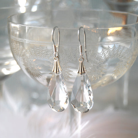 Statement Swarovski Clear Crystal Teardrop Wedding Earrings by Susie Warner