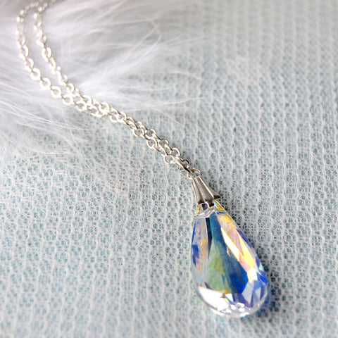 Statement Swarovski AB Crystal Teardrop Wedding Necklace by Susie Warner
