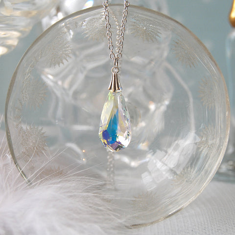 Statement Swarovski AB Crystal Teardrop Bridesmaid Wedding Necklace