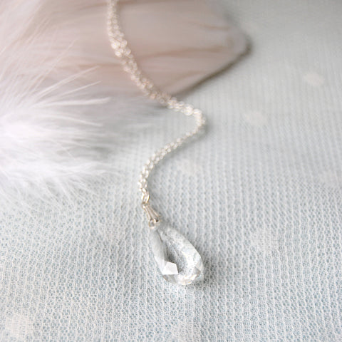 Statement Swarovski Clear Crystal Teardrop Necklace by Susie Warner