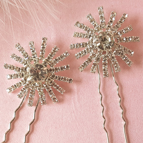 Stellar Vintage Diamante Star Wedding Hair Pins