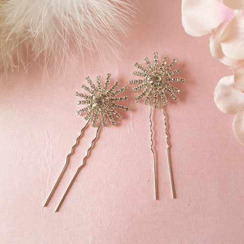 Stellar Vintage Crystal Star Wedding Hair Pins