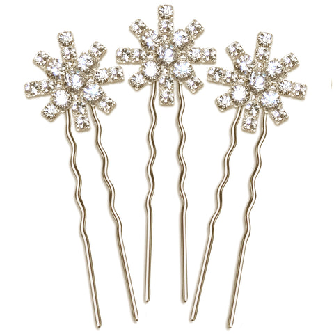 Stella Vintage Diamante Star Wedding Hair Pin Set of 3