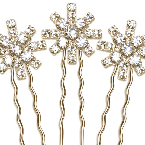 Stella Vintage Diamante Star Bridal Hair Pin Set of 3