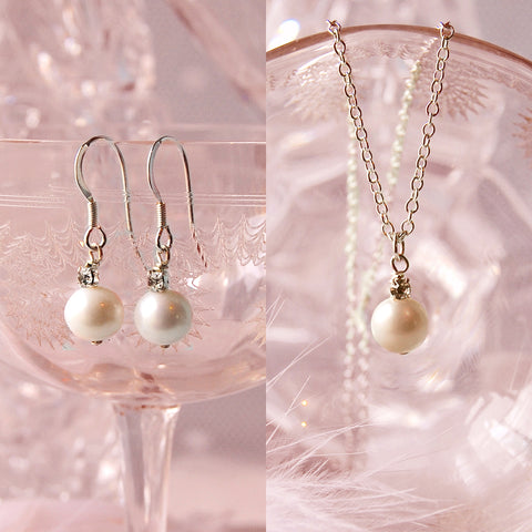 PEARL & CRYSTAL EARRINGS NECKLACE GIFT SET | SUSIE WARNER JEWELLERY