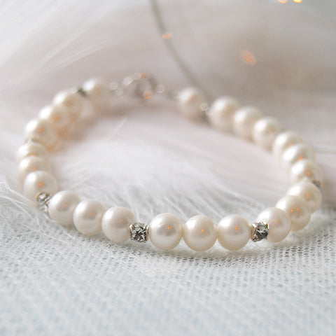 Sweetie Vintage Pearl & Crystal Wedding Bracelet
