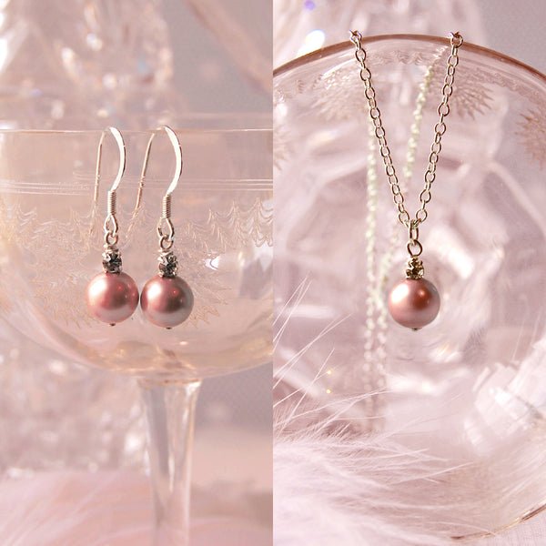 PINK PEARL & CRYSTAL EARRINGS NECKLACE GIFT SET | SUSIE WARNER JEWELLERY