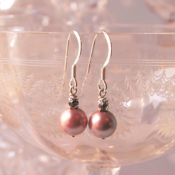 PINK PEARL & CRYSTAL EARRINGS JEWELRY GIFT SET | SUSIE WARNER JEWELLERY