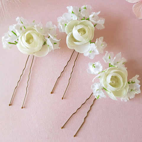 ROSES & BABY'S BREATH SILK FLOWER WEDDING HAIR PINS | SUSIE WARNER BRIDAL ACCESSORIES