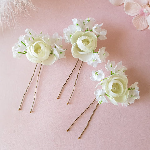 ROSE FLOWER BOUQUET WEDDING HAIR PINS | SUSIE WARNER BRIDAL ACCESSORIES