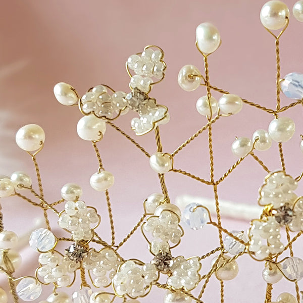 Hand Beaded Pearl & Crystal Gypsophila Baby's Breath Flower Blossom Tiara | Susie Warner Bridal Accessories