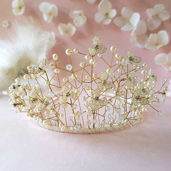 Pearl & Crystal Gypsophila Baby's Breath Flower Blossom Wedding Tiara | Susie Warner Bridal Headdresses