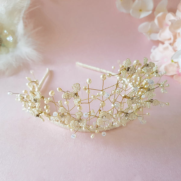 Pearl & Crystal Gypsophila Baby's Breath Flower Blossom Bridal Tiara | Susie Warner Wedding Hair Accessories
