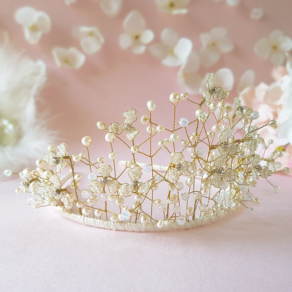 Pearl & Crystal Gypsophila Baby's Breath Flower Blossom Tiara | Susie Warner Bridal Accessories