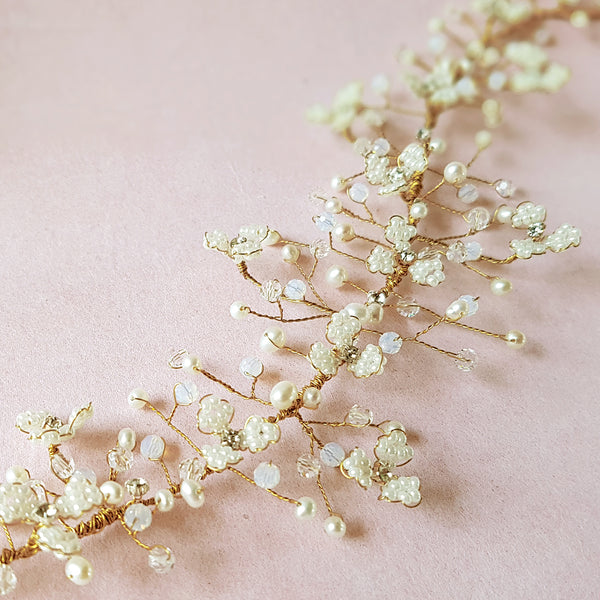 Gypsophila Pearl & Crystal Flower Blossom Wedding Hair Vine | Susie Warner Bridal Accessories