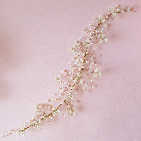 Titania Vintage Beaded Pearl Gypsophila Flower Bridal Hair Vine
