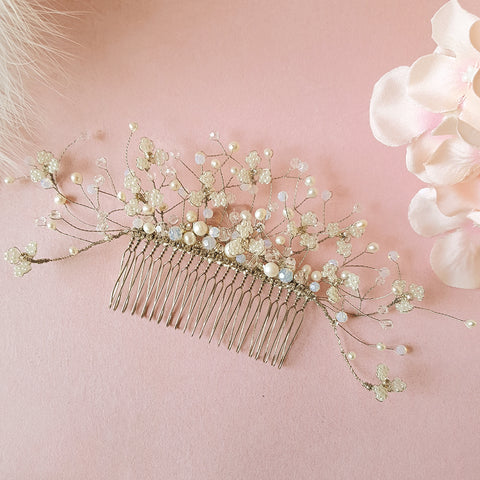 Gypsophila Pearl & Crystal Hand Beaded Flower Babys Breath Blossom Bridal Hair Comb | Susie Warner Wedding Accessories