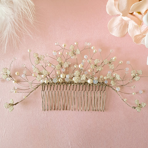 Titania Vintage Beaded Pearl Gypsophila Flower Bridal Hair Comb