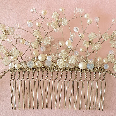 Hand Beaded Gypsophila Pearl & Crystal Flower Blossom Wedding Hair Comb | Susie Warner Bridal Accessories