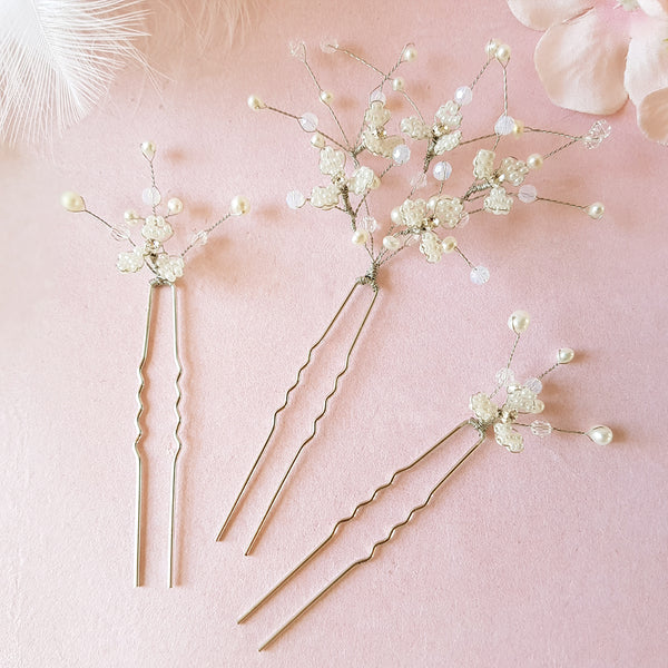 Hand beaded Babys Breath Flower Blossom Hair Pins | Susie Warner Bridal Accessories