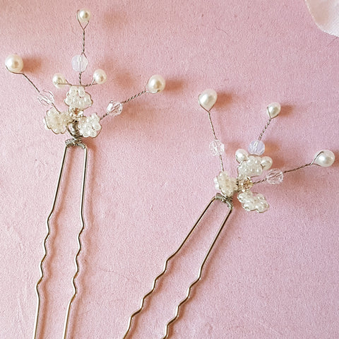 Gypsophila Pearl & Crystal Flower Blossom Hair Pins | Susie Warner Hair Accessories