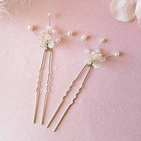 Gypsophila Babys Breath Pearl Flower Blossom Hair Pins | Susie Warner Wedding Accessories