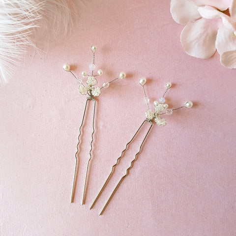 Hand beaded Gypsophila Flower Blossom Hair Pins | Susie Warner Bridal Accessories