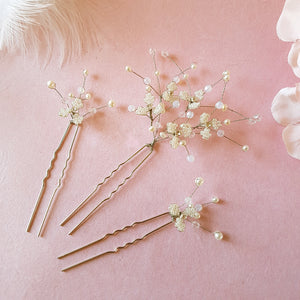 Hand beaded Gypsophila Flower Babys Breath Blossom Hair Pins | Susie Warner Bridal Accessories