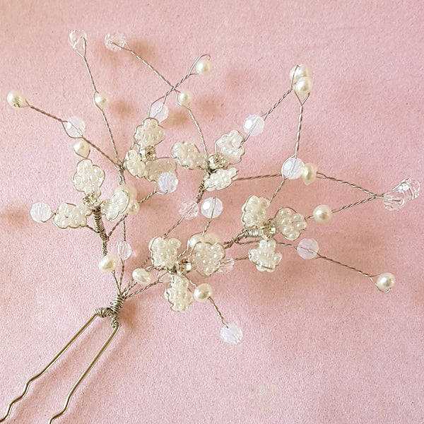 Hand beaded Gypsophila Flower Blossom Wedding Hair Pins | Susie Warner Bridal Accessories