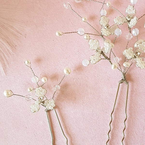 Hand beaded Gypsophila Flower Blossom Bridal Hair Pins | Susie Warner Wedding Accessories