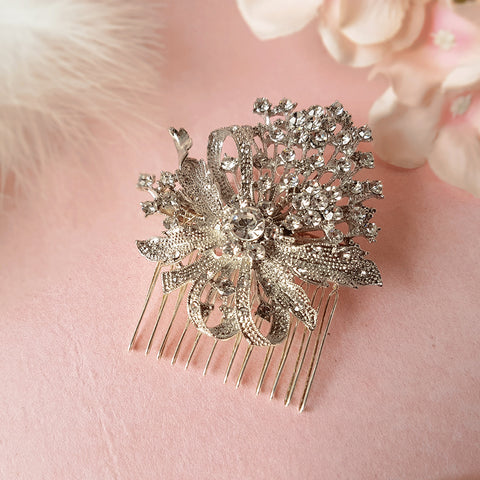 True Romance Vintage Crystal Flower Bouquet Bridal Hair Comb For Weddings