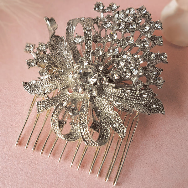 True Romance Vintage Crystal Flower Wedding Hair Comb