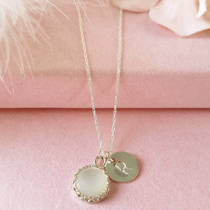 Personalised Initial Necklace with Mother of Pearl
