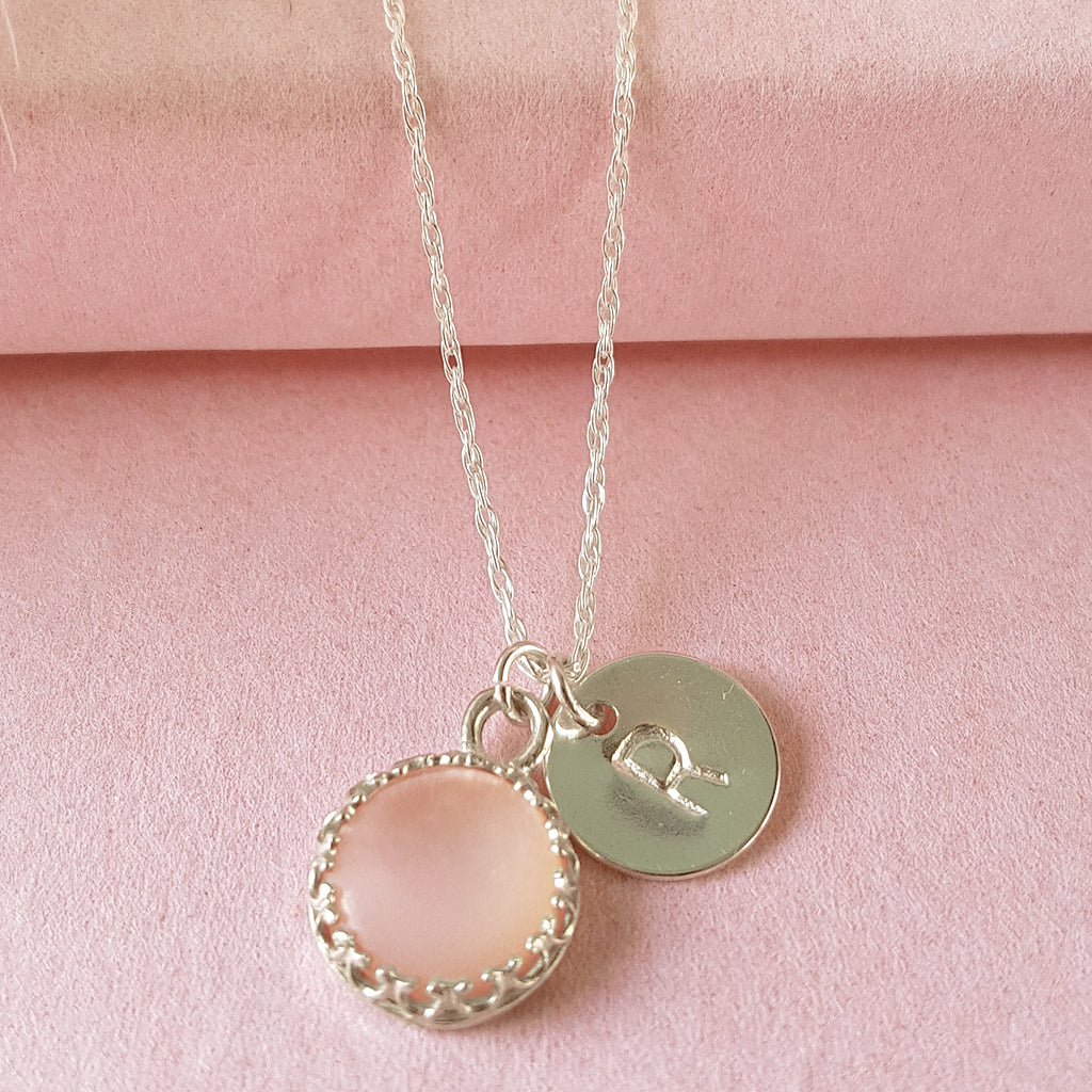 Personalised Rose Quartz Initial Necklace - Perfect Bridesmaids Gift