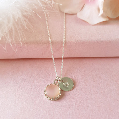 Personalised Silver Initial Necklace - Rose Quartz
