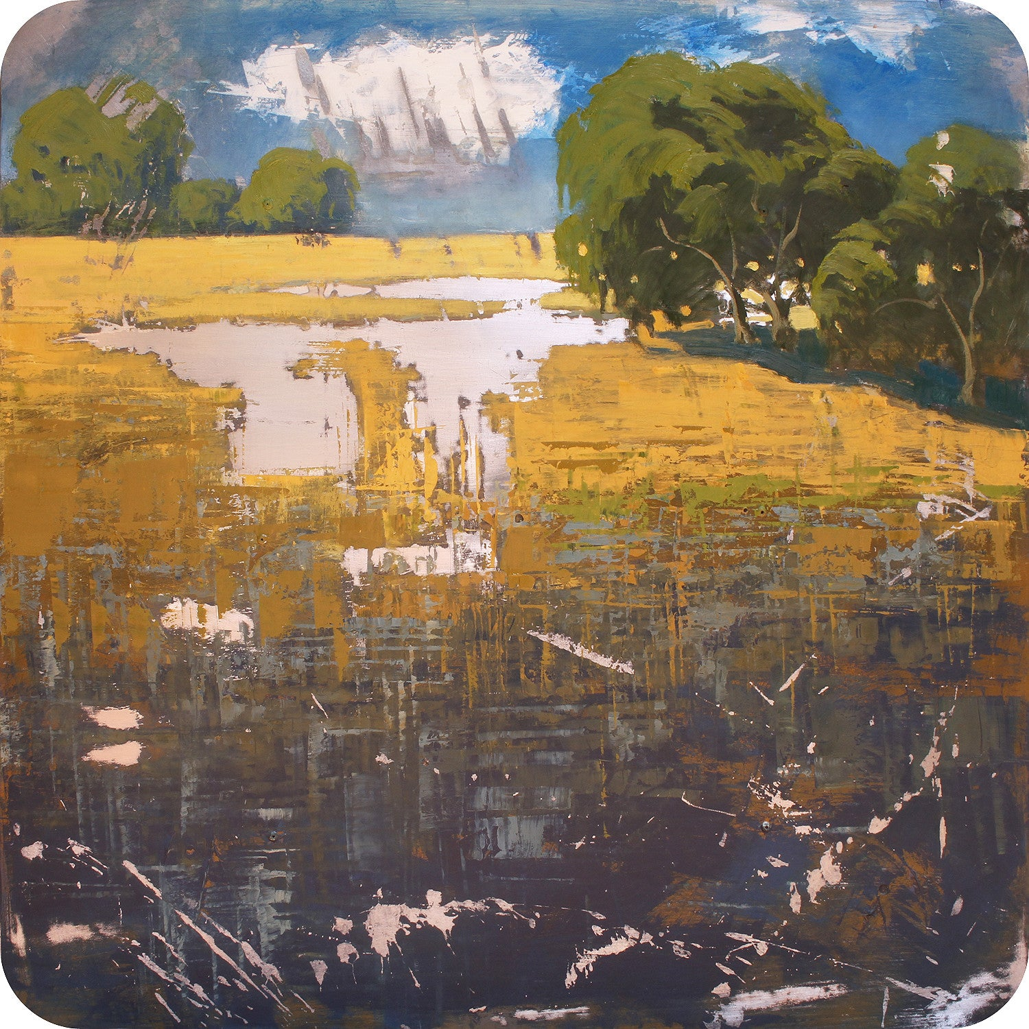Oaks and Pond II 36x36
