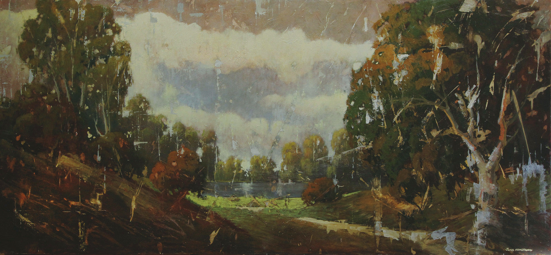 River Front Park - 36x80 Oil on Masonite Panel