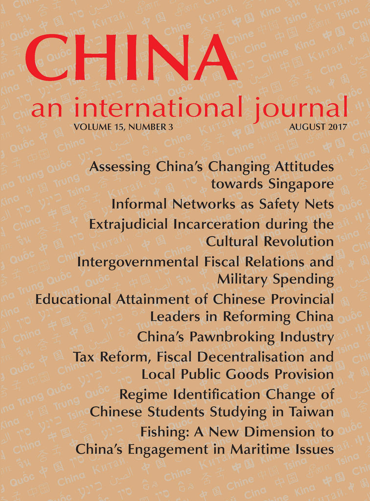 China: An International Journal Volume 15, Number 3 (August 2017) - print edition