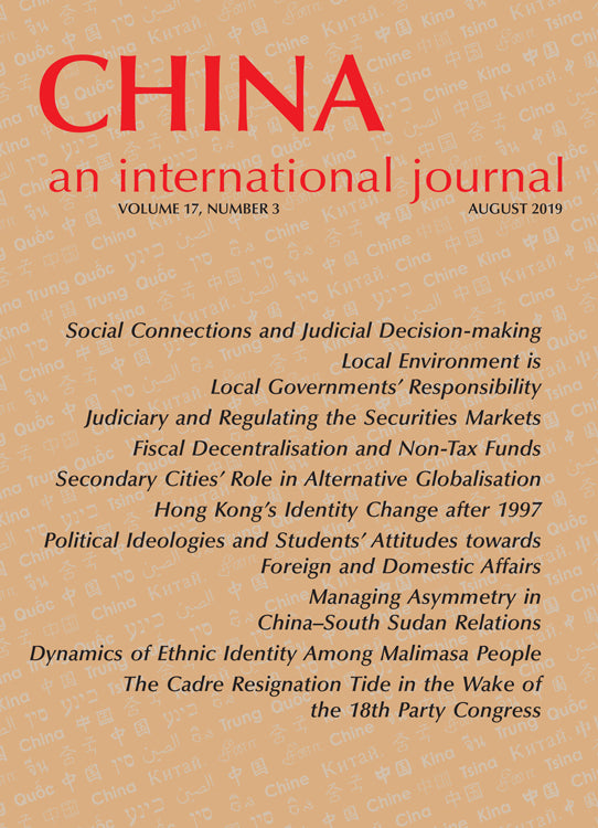 (Print Edition) China: An International Journal Volume 17, Number 3 (August 2019)
