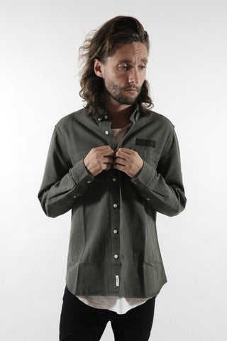 Bear Canvas Shirt, Olive