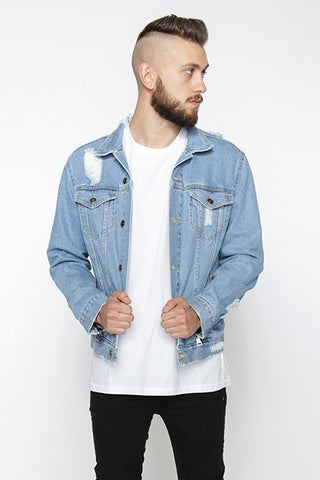 Distressed Denim Jacket, Lightblue