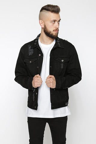 Distressed Denim Jacket, Black