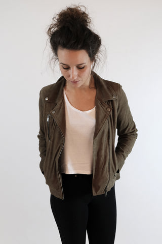 Milla Suede Jacket Army Green