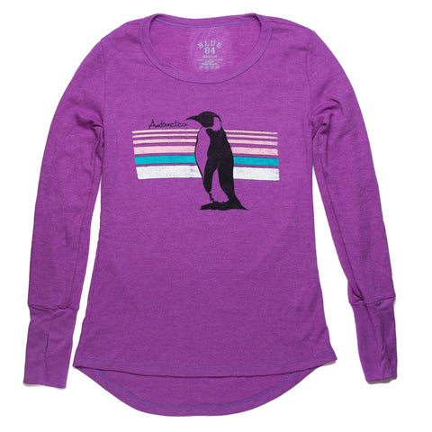 Ladies Long Sleeve Thermal Penguin T-Shirt in Orchid - Quark Expeditions, Inc.
