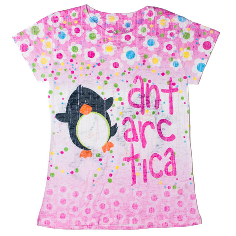 Girls T-shirt Antarctica Floral Pink - Quark Expeditions, Inc.