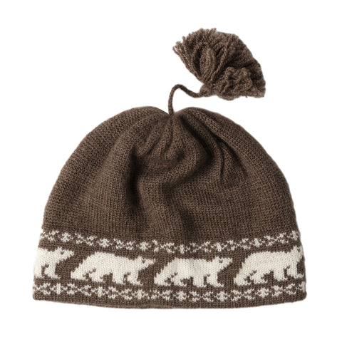 Musk Ox Qiviut Toque with Polar Bear Pattern - Arctic Canada