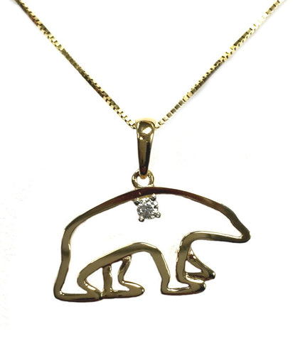 14K Gold and Diamond Polar Bear Necklace - Quark Expeditions, Inc.